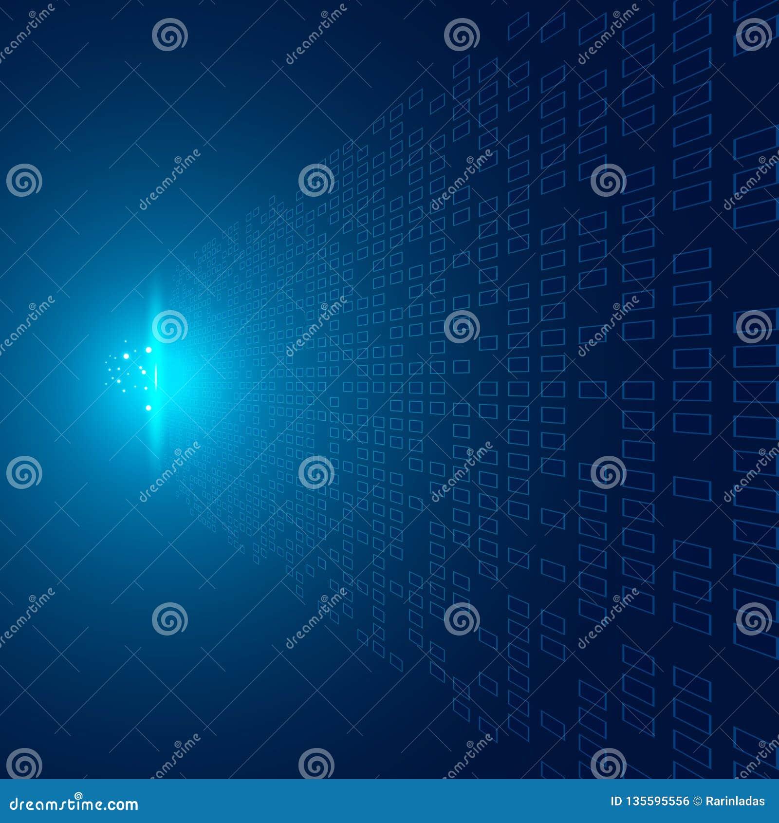 Os quadrados abstratos modelam a perspectiva futurista dos dados de transferência no fundo azul com impacto do conceito claro da