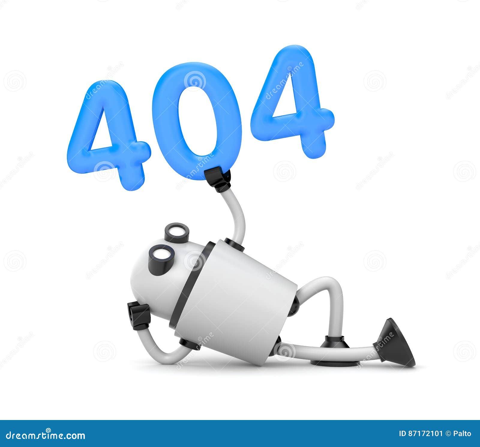 Os restos do robô e guardar os números 404 - erro não encontrado 404 da página