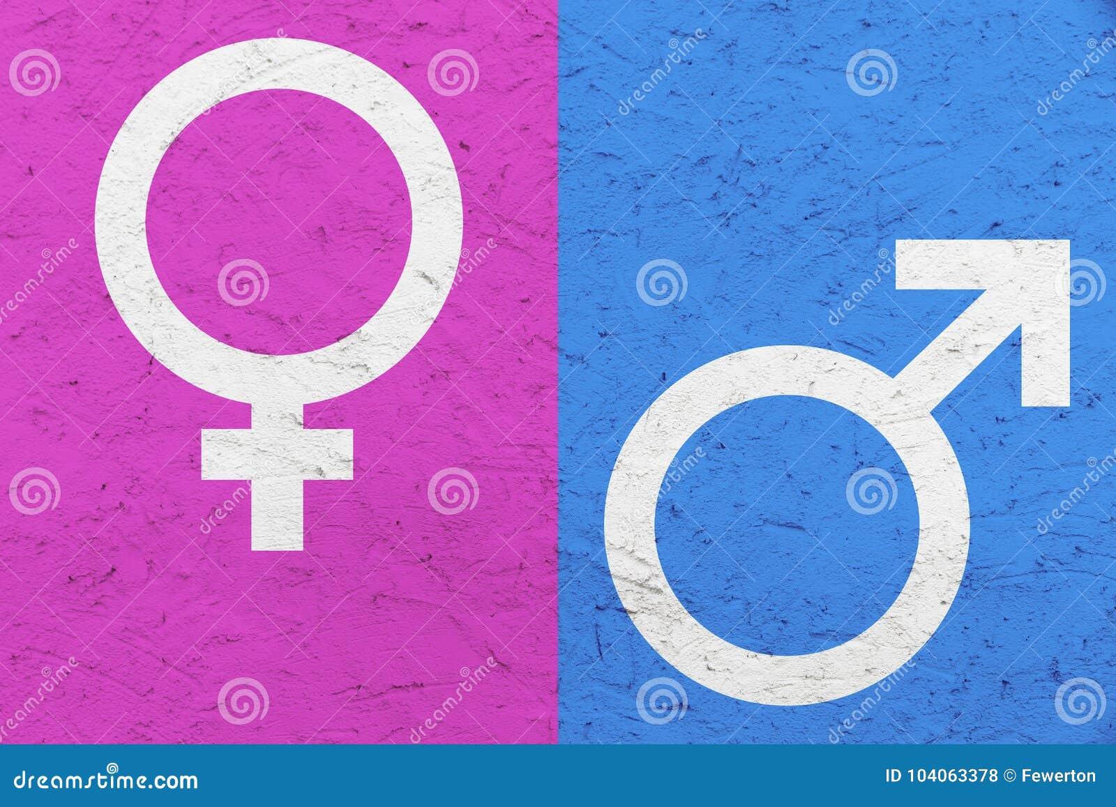 Os símbolos masculinos e fêmeas Marte do gênero e o Vênus assinam sobre o rosa e o fundo desigual azul da textura