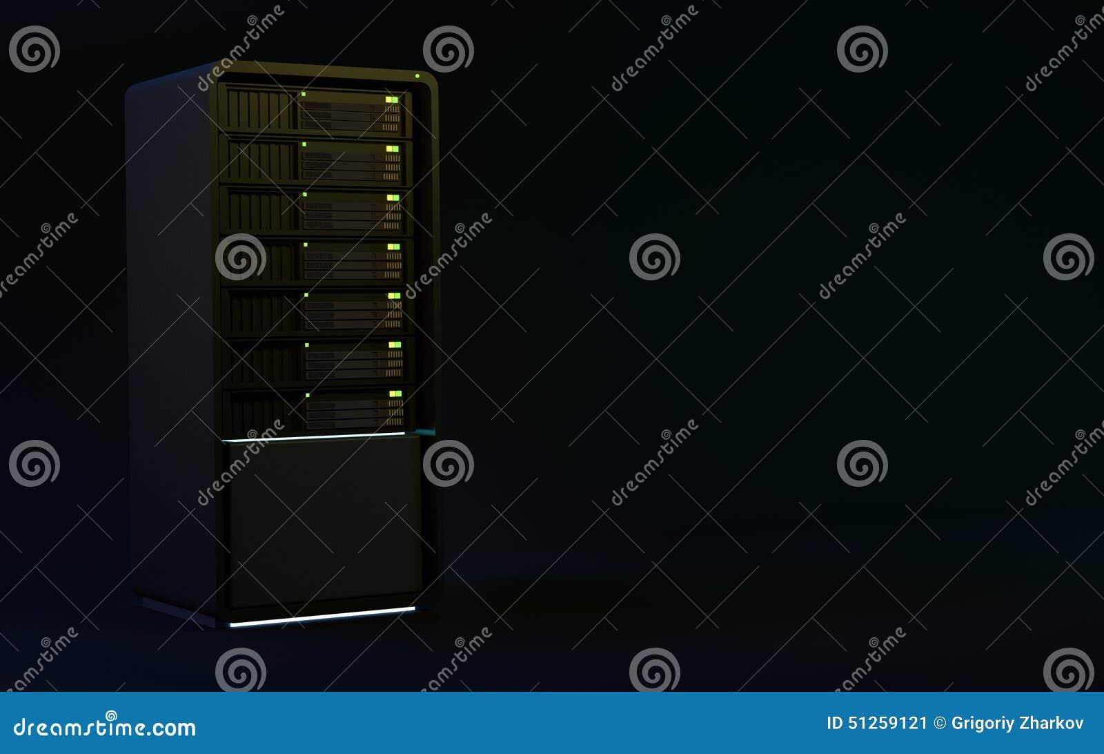 Os servidores 3d rendem o preto
