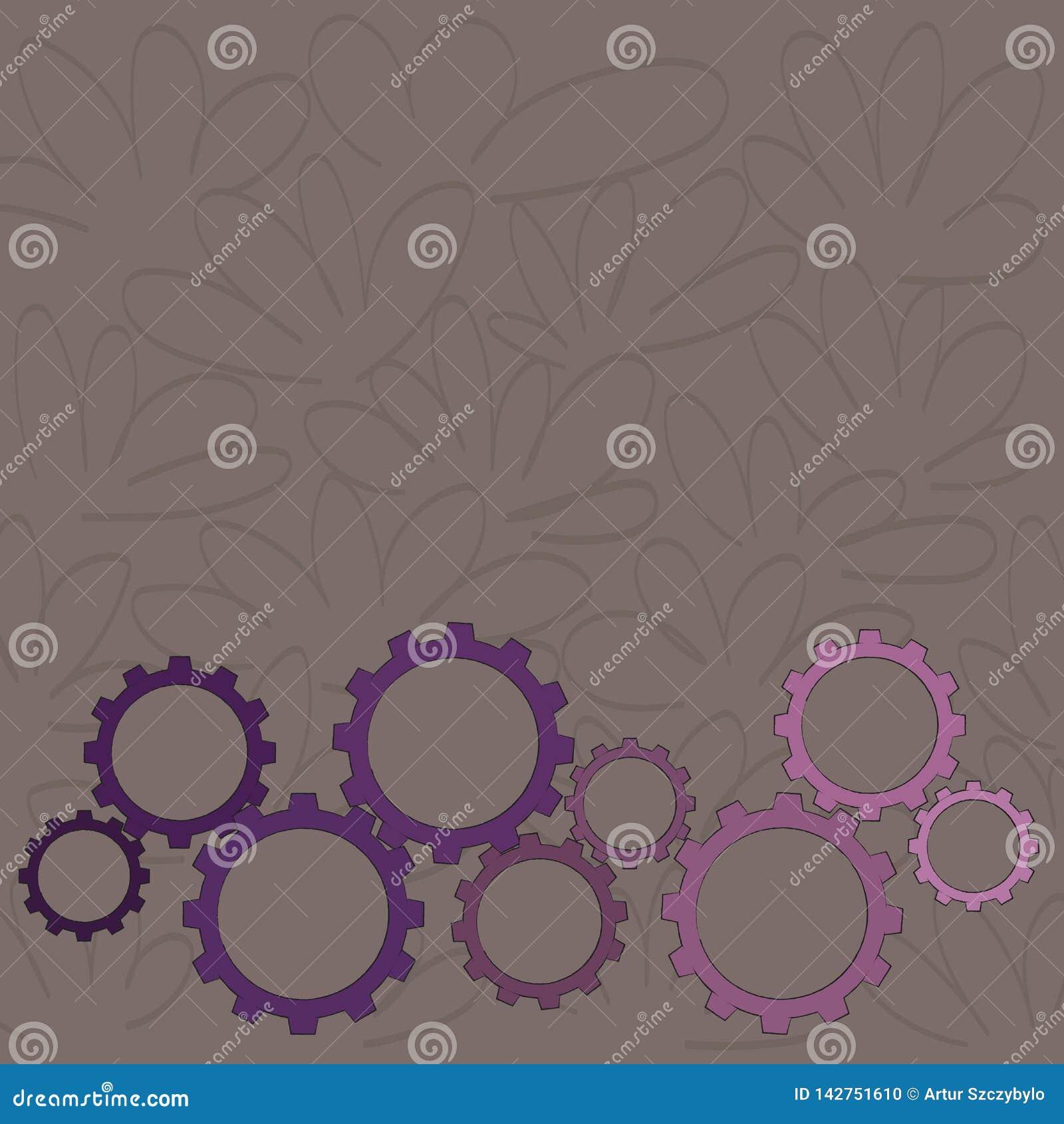 Os tamanhos diferentes da roda da roda denteada da cor alinham o contrato, bloquear, Tesselating Ideia criativa do fundo para ind