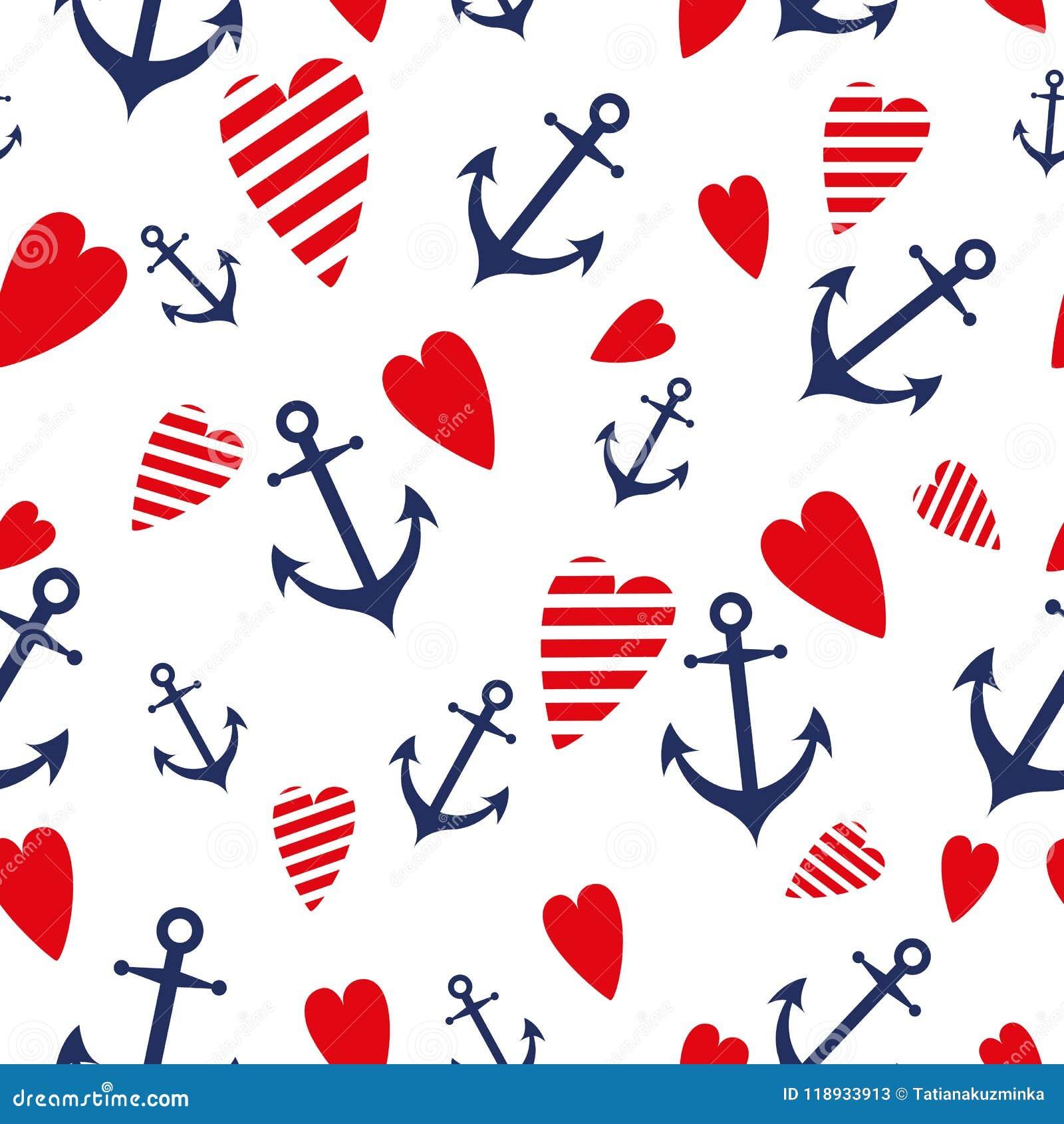 Os testes padrões sem emenda do vetor marinho do mar ancoram fundos azuis da viagem do Mar Vermelho do coração