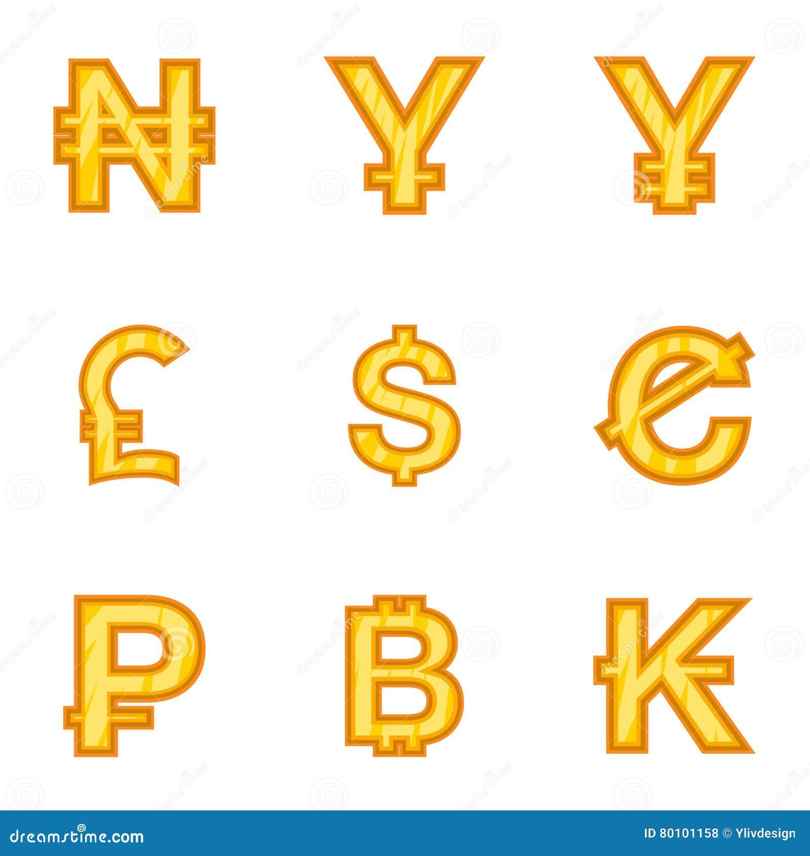 Os tipos de ícones do dinheiro ajustaram-se, estilo dos desenhos animados