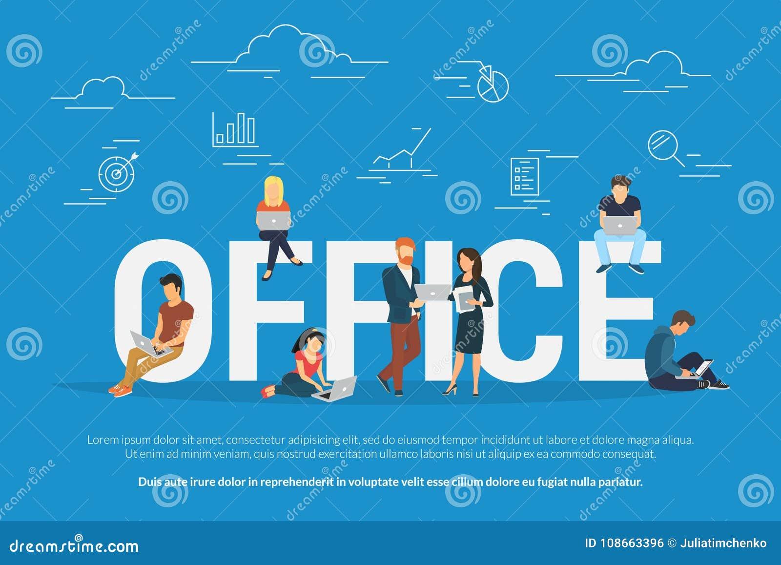 Os trabalhos de equipa e os objetivos do escritório vector a ilustração dos povos que trabalham junto