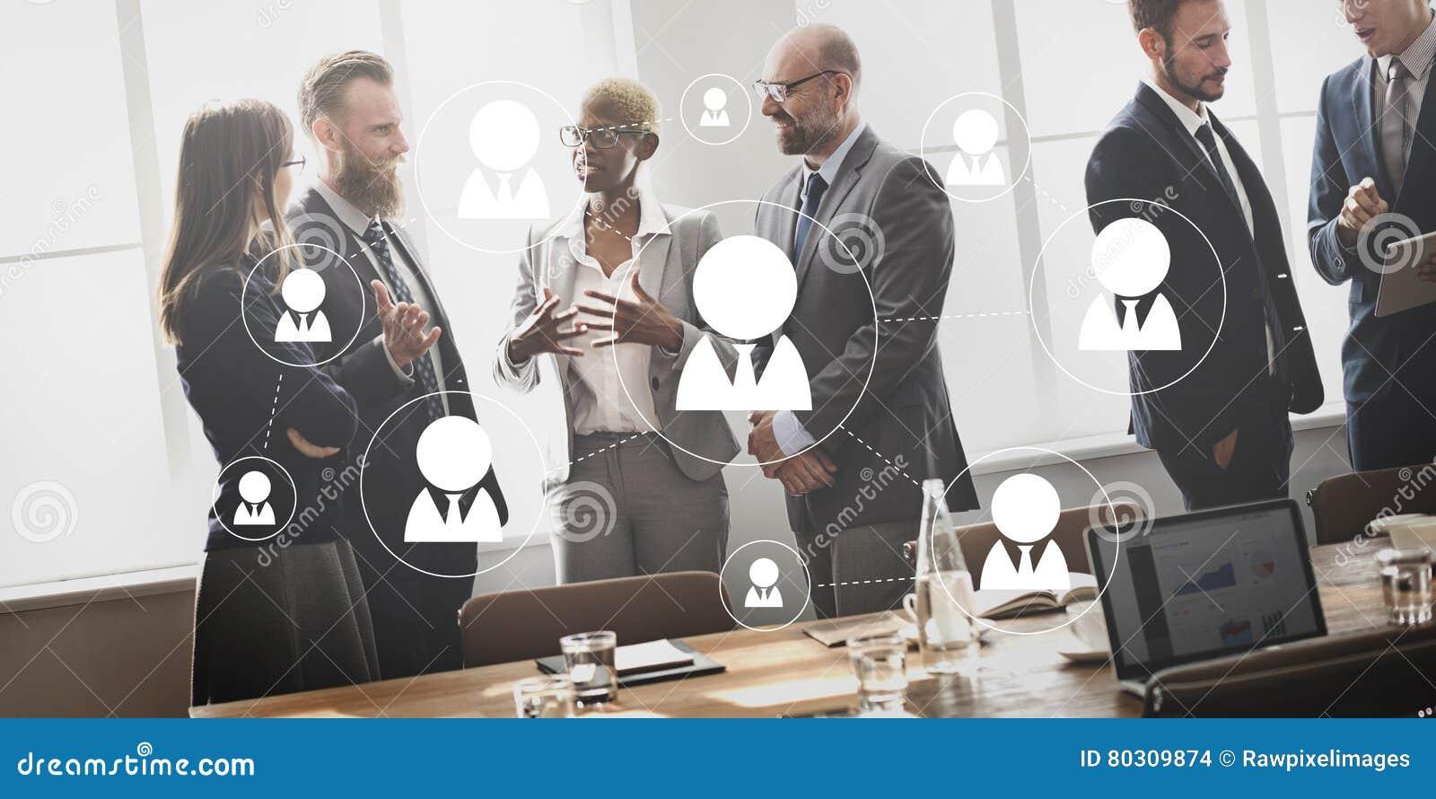 Os trabalhos em rede da rede comunicam o conceito da conexão de Cummunicatin