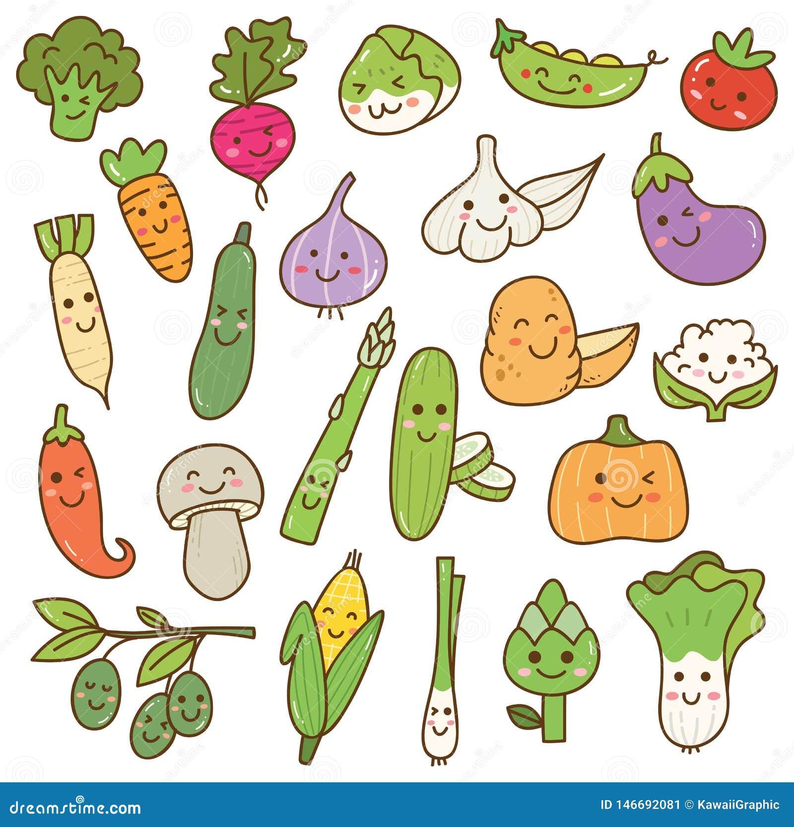 Os vários vegetais rabiscam o elemento do projeto do kawaii