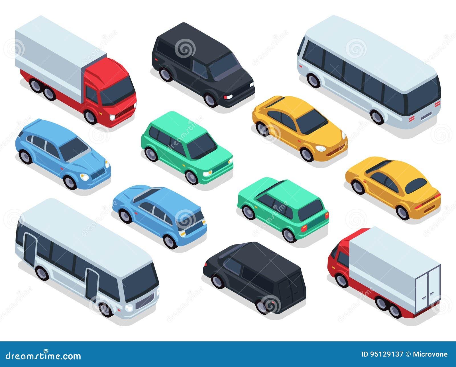 Os veículos e os carros isométricos para o tráfego de cidade 3d traçam Grupo do transporte urbano do vetor