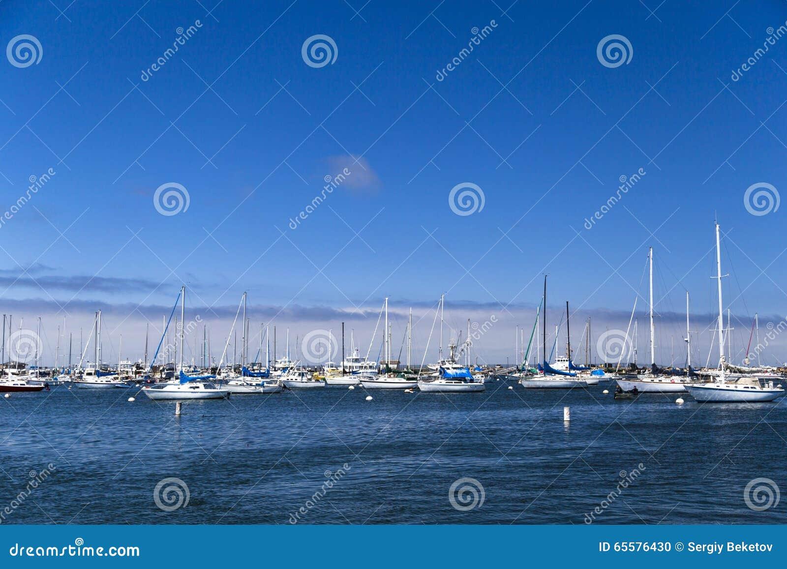 Os veleiros amarrados e ancorados no Monterey latem, Califórnia, EUA