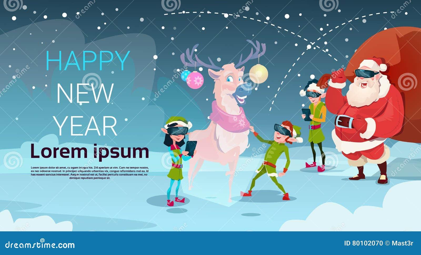 Os vidros de Santa Clause Elf Group Wear Digital veem o ano novo feliz do Feliz Natal da rena da realidade virtual