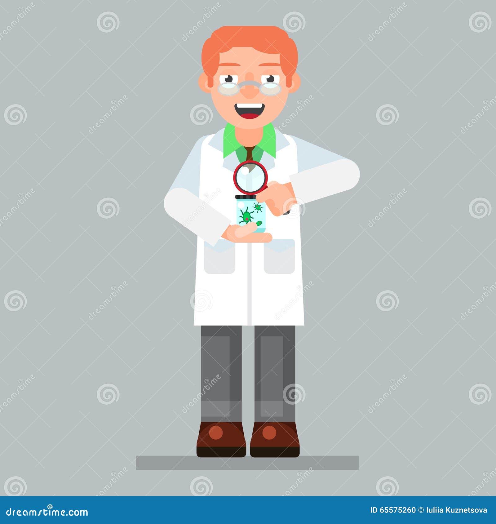 Os vidros e o laboratório vestindo do caráter do cientista revestem com o micro-organismo, lente de aumento
