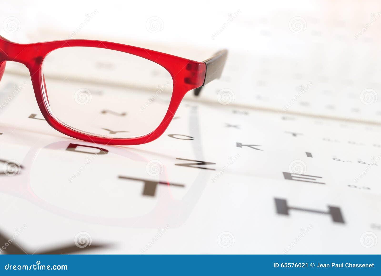 Os vidros modernos em um olho observam a carta de teste