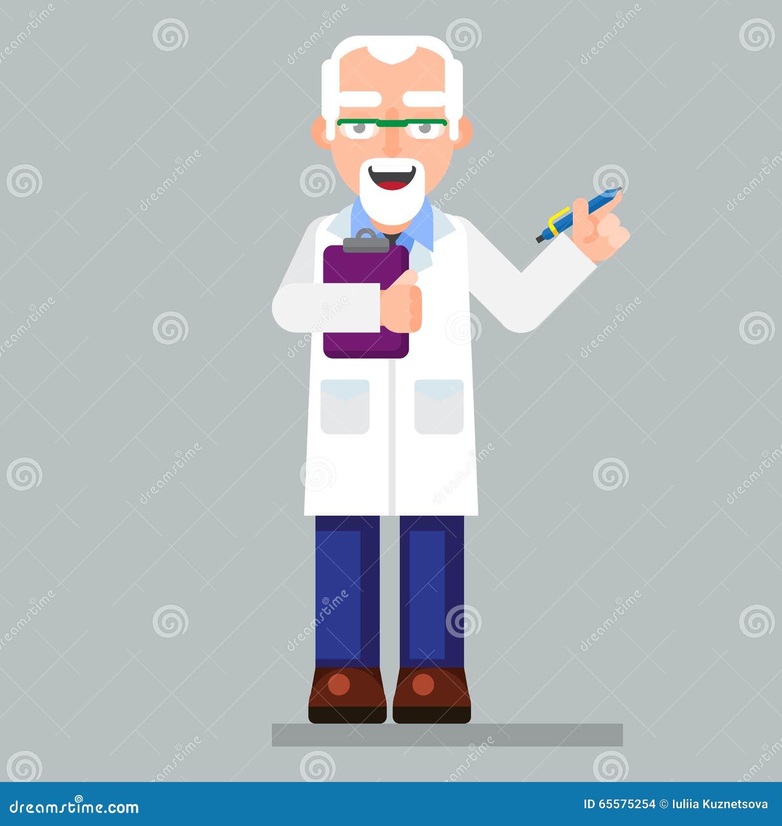 Os vidros vestindo e o laboratório do caráter velho do cientista revestem com a pena