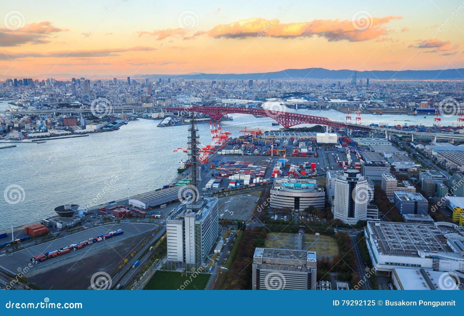 Osaka Bay, in Osaka Japan Industries bepaalt rond van de plaats