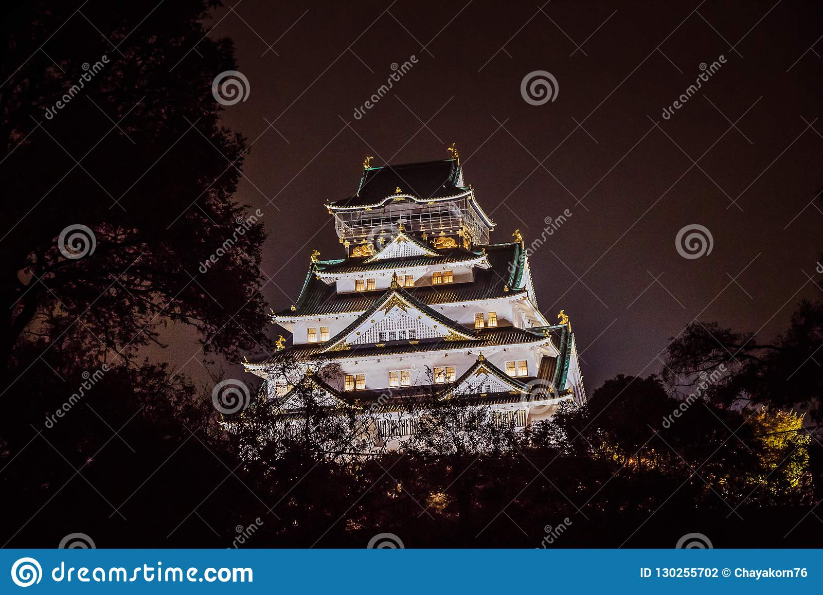 Osaka Castle at dark night, Osaka, Japan