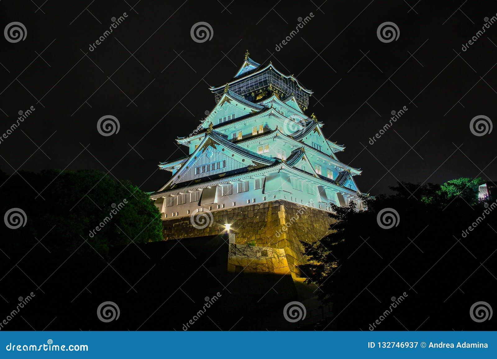Osaka Castle at night, Osaka, Japan.