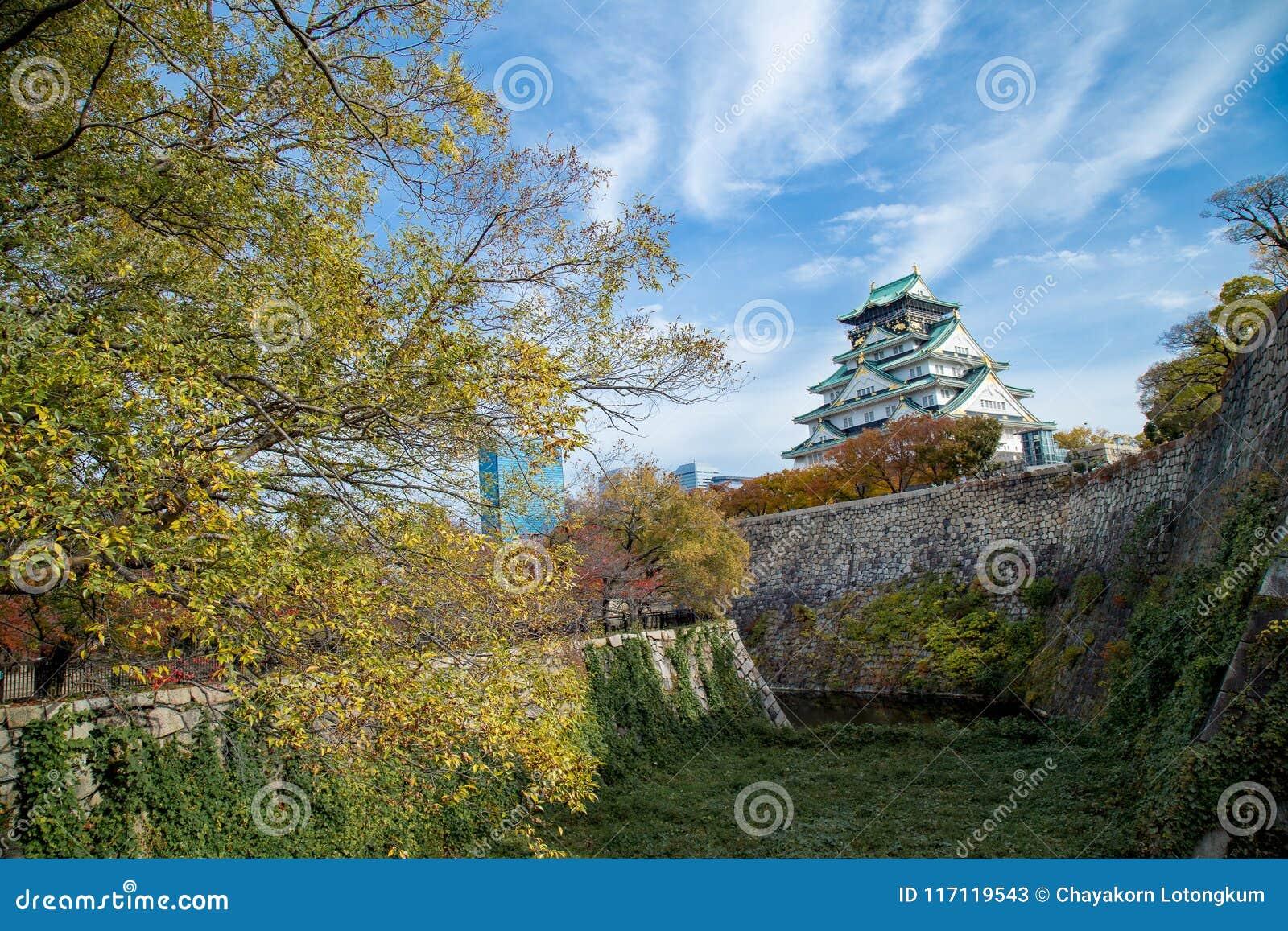 Osaka castle tower in japan, in Autumn
