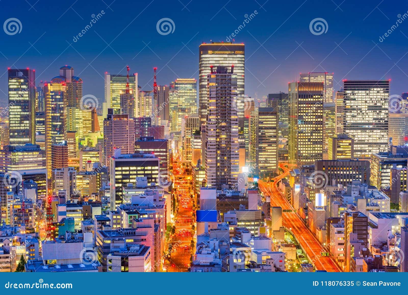Osaka, de Nachtcityscape van Japan