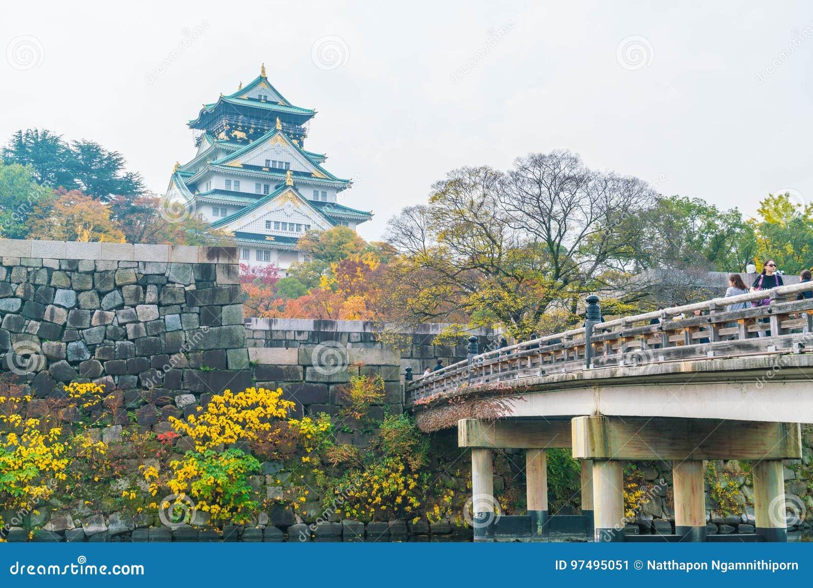 OSAKA, GIAPPONE - 20 NOVEMBRE: Ospiti ammucchiati ad Osaka Castle Park I