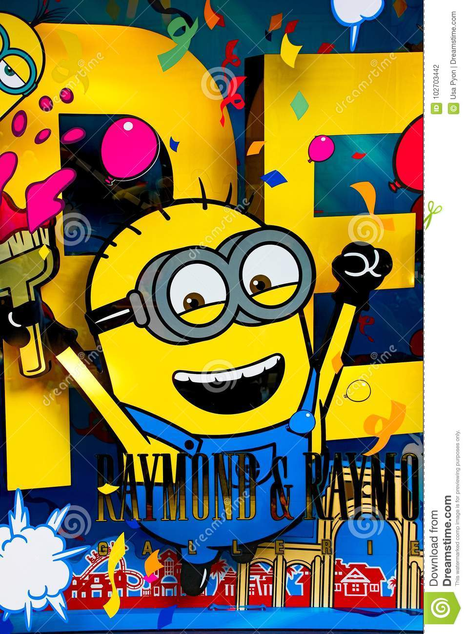 Photo Of `HAPPY MINION Wall Art` Editorial Photography - Image of ...