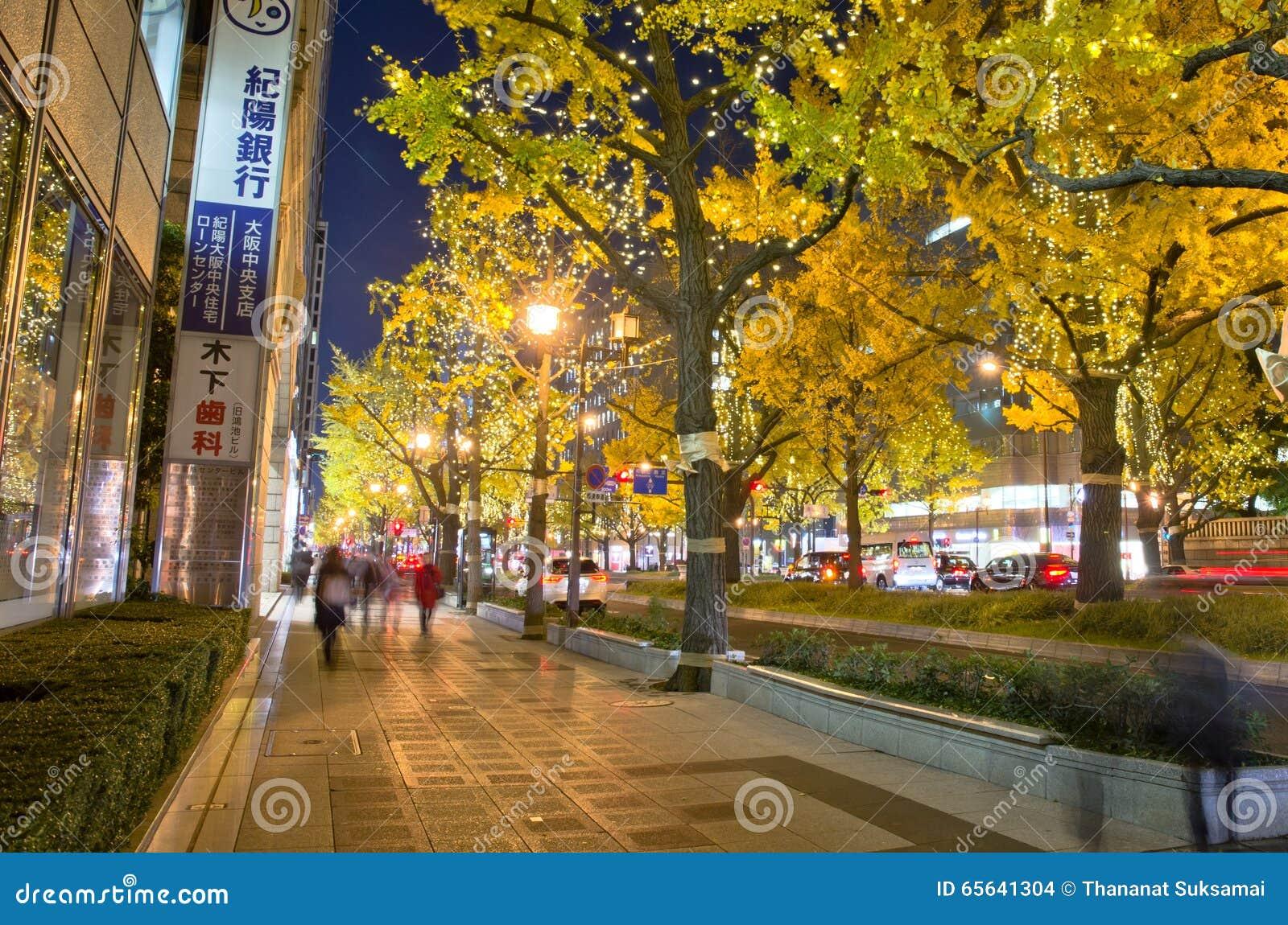 OSAKA, JAPON - 9 DÉCEMBRE 2015 : arbre de gingko dans la rue de Midosuji d Osaka, Japon