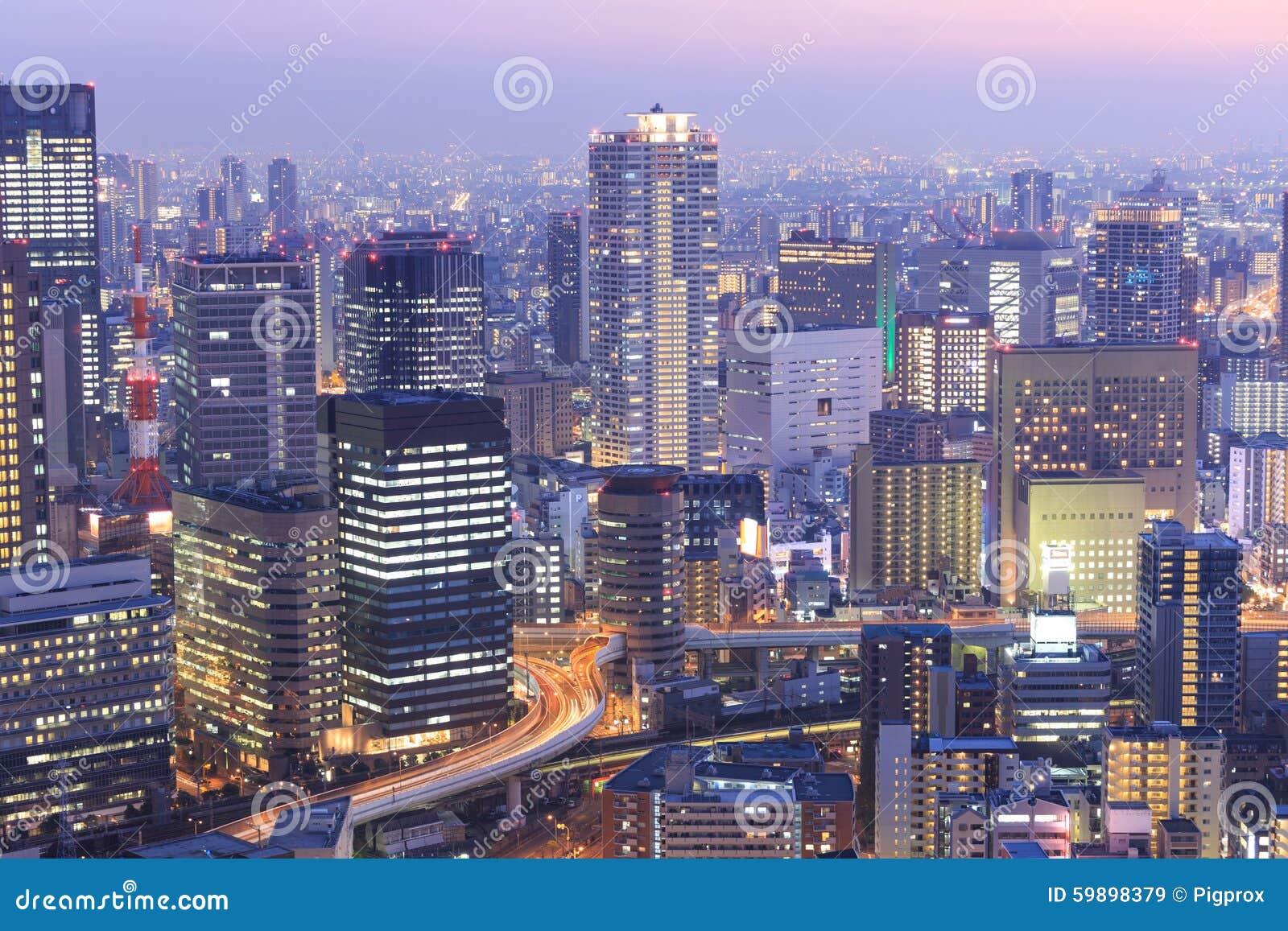 Osaka od najwyższego piętra wysoki budynek w grodzkim Symphon