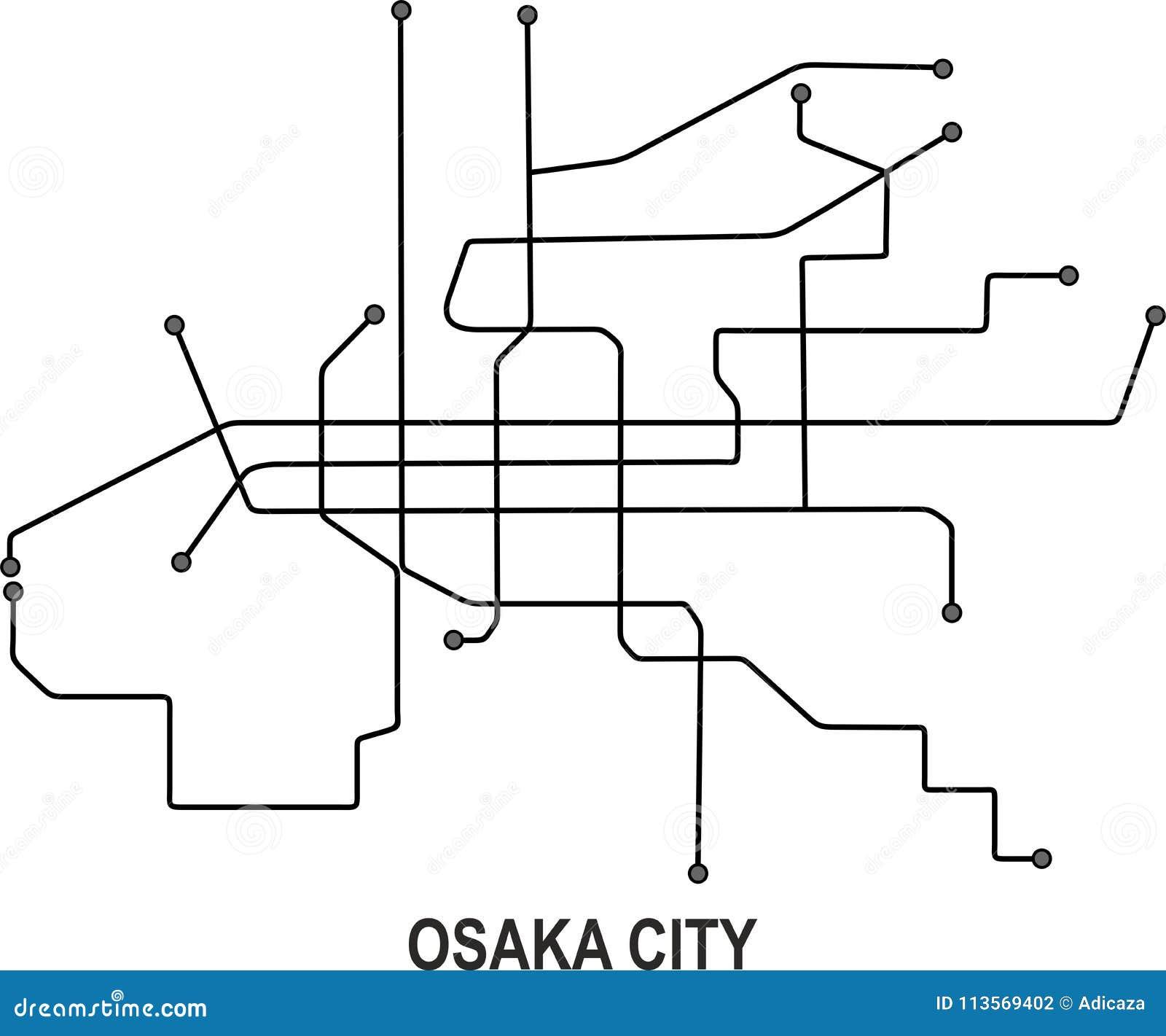 Subway Map Of Osaka.Osaka City Map Stock Vector Illustration Of Subway 113569402