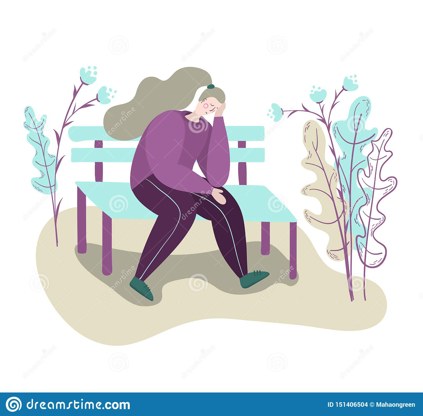 Osamotniona zmęczona smutna kobieta siedzi przygnębionego na ławce w parku smutna rozwa?na kobieta Odosobnionej p?askiej modnej k