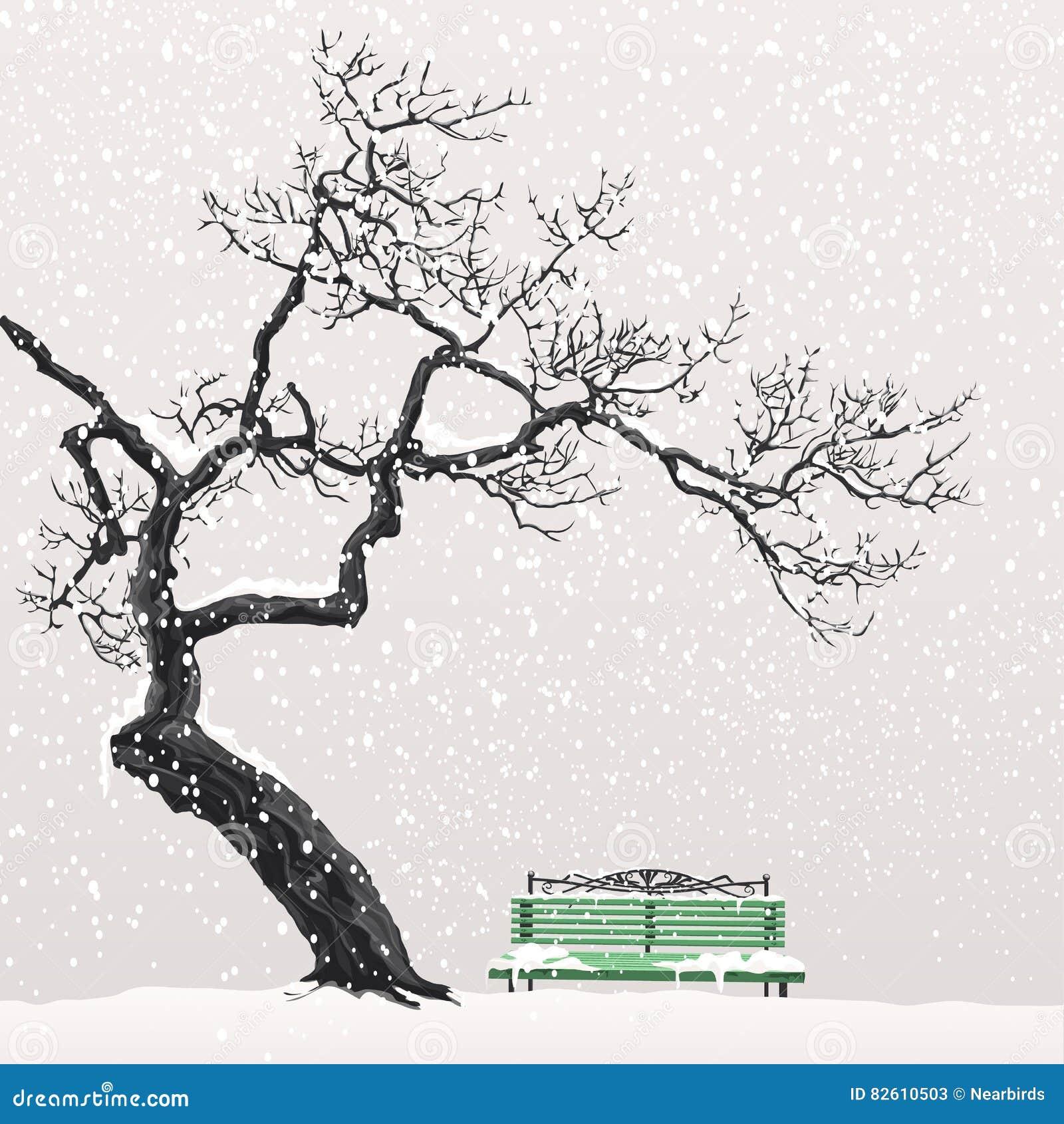 Osamotniony drzewo na śnieżystej ławce
