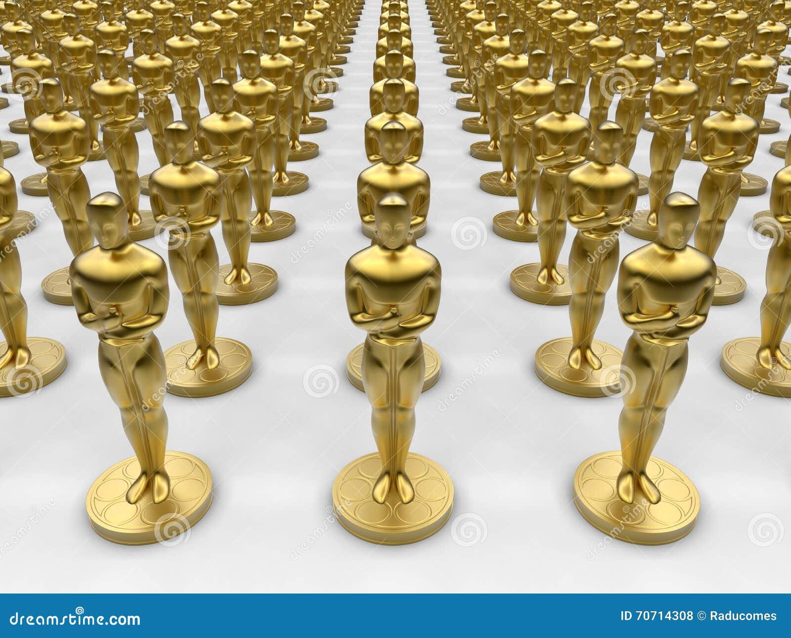 oscar statue collection stock illustration illustration of golden