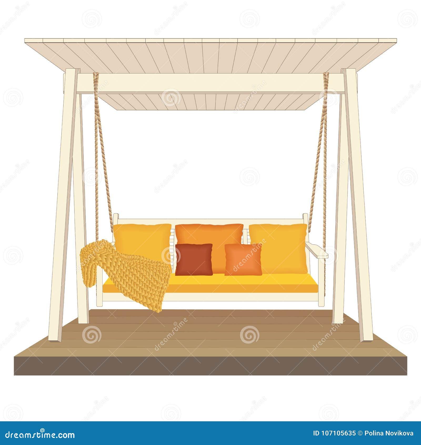 Oscilación de madera clásico al aire libre, pintado en el color blanco El jardín relaja los muebles, ejemplo en el fondo blanco
