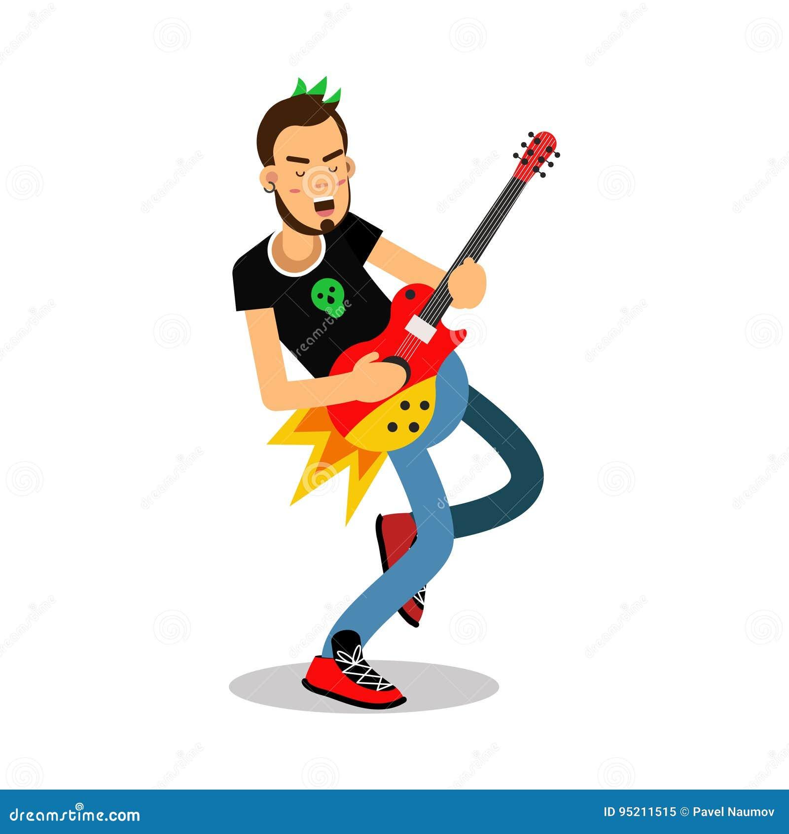 Oscile Al Músico Que Juega En El Ejemplo Eléctrico Del Vector Del
