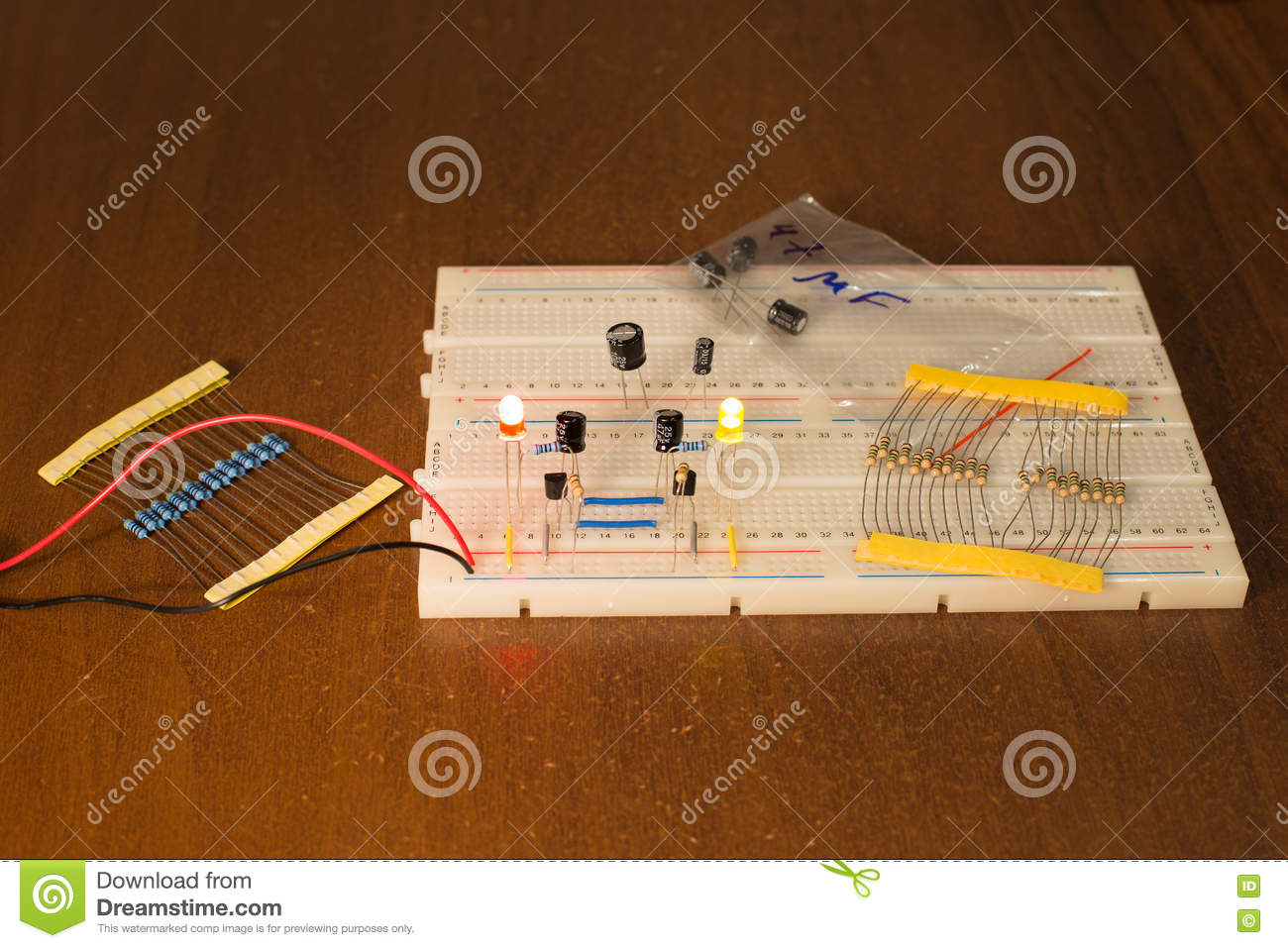 Oscillator Circuit On Prototyping Board Breadboard Stock Image Oscillating Led And Control
