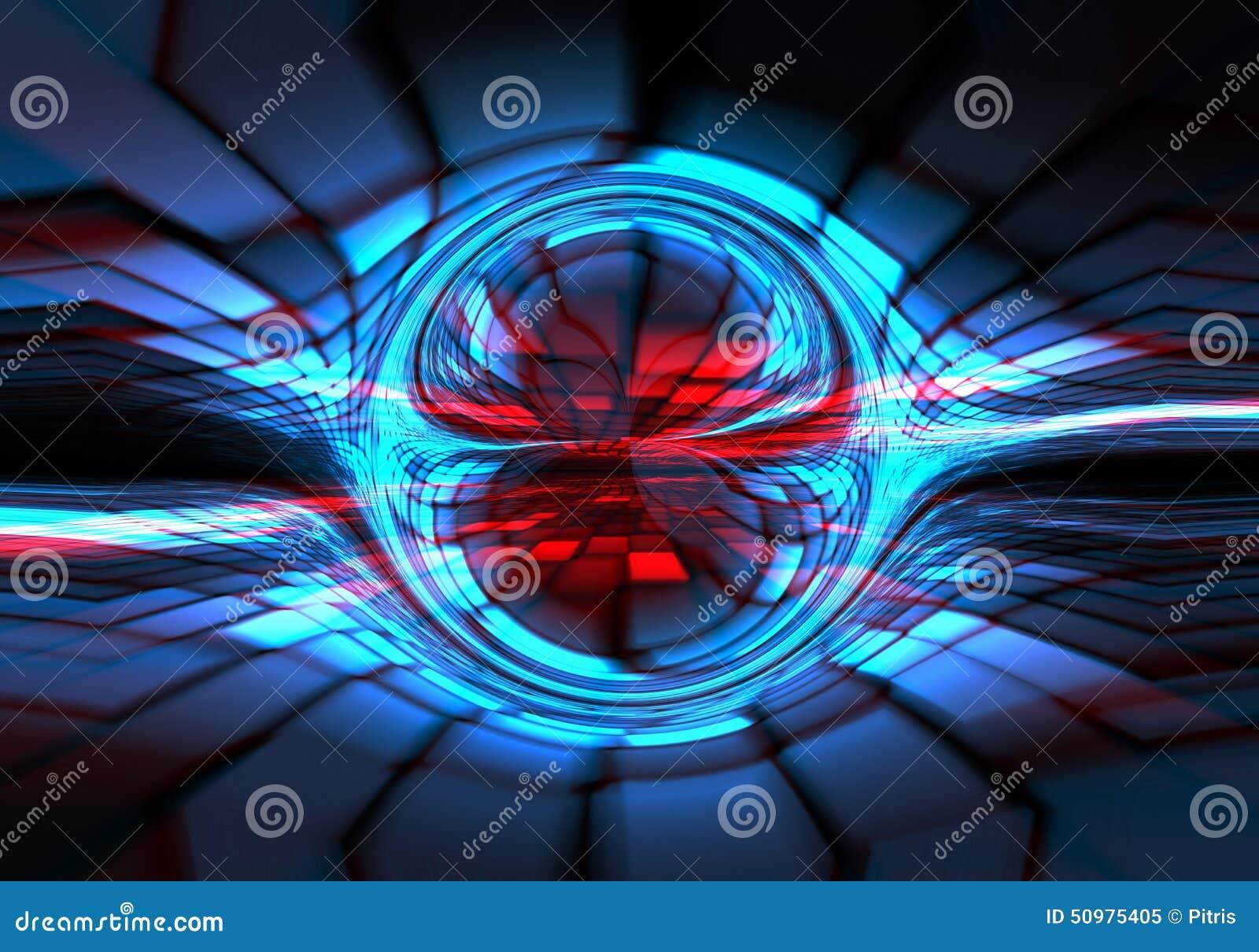 Oscuridad abstracta - azul - formación técnica roja