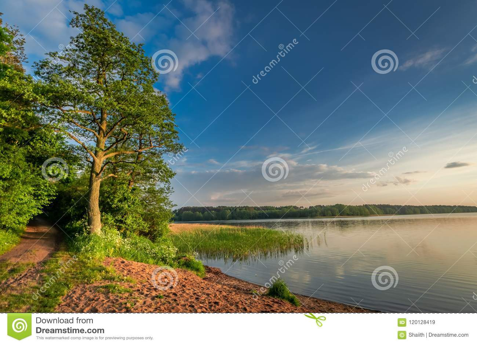 Oscuridad maravillosa en el lago del verano con las nubes dinámicas