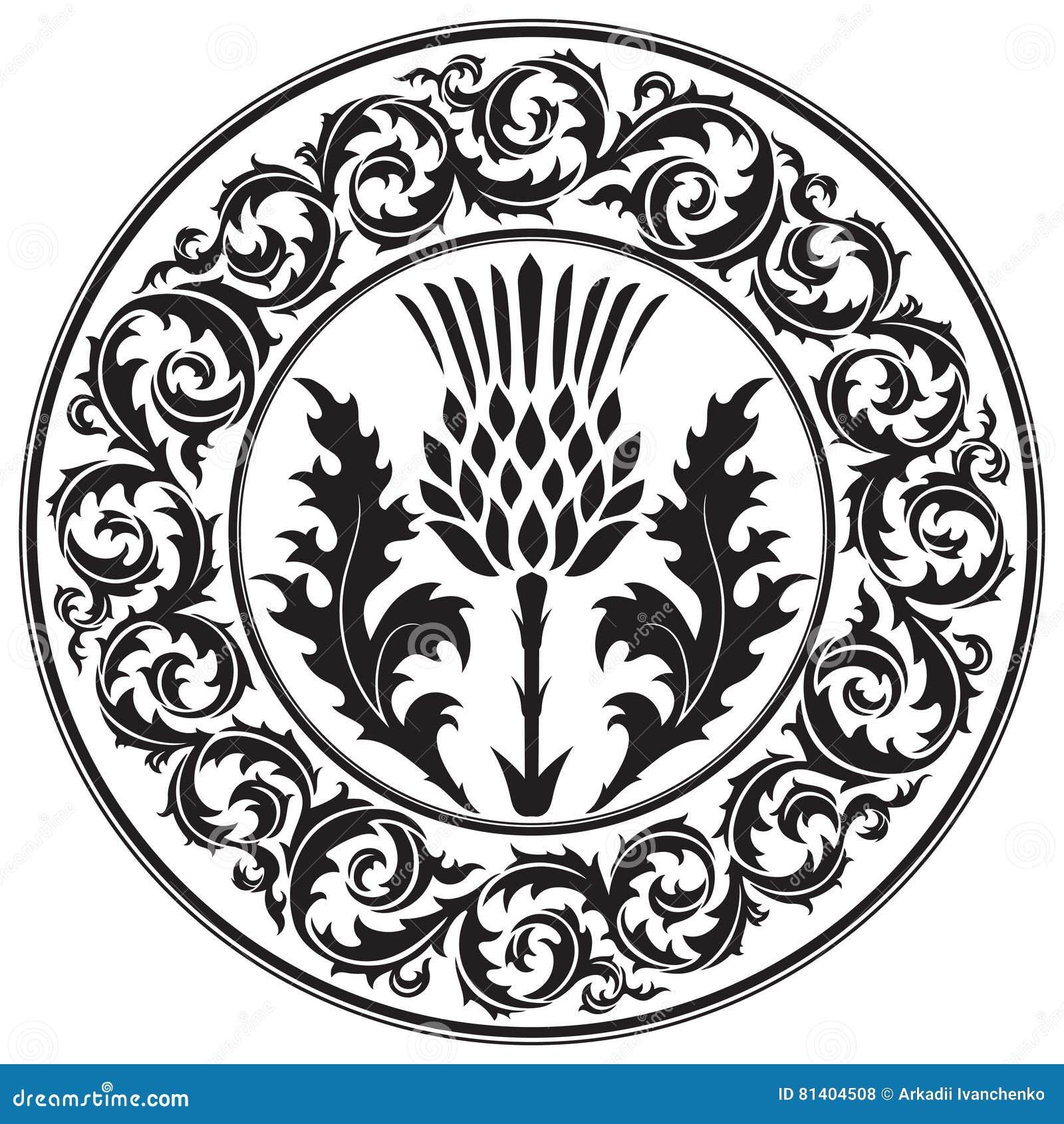 Osetu kwiat i ornamentu liścia round oset Symbol Szkocja