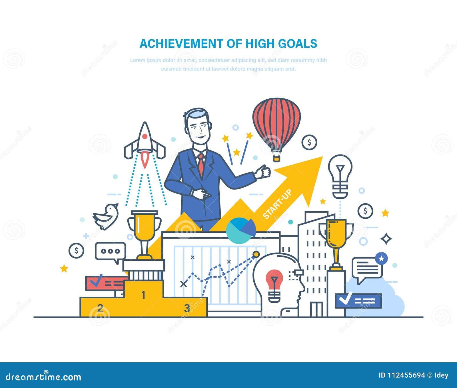 Osiągnięcie wysocy cele Pieniężny i kariera przyrost, sukces w biznesie