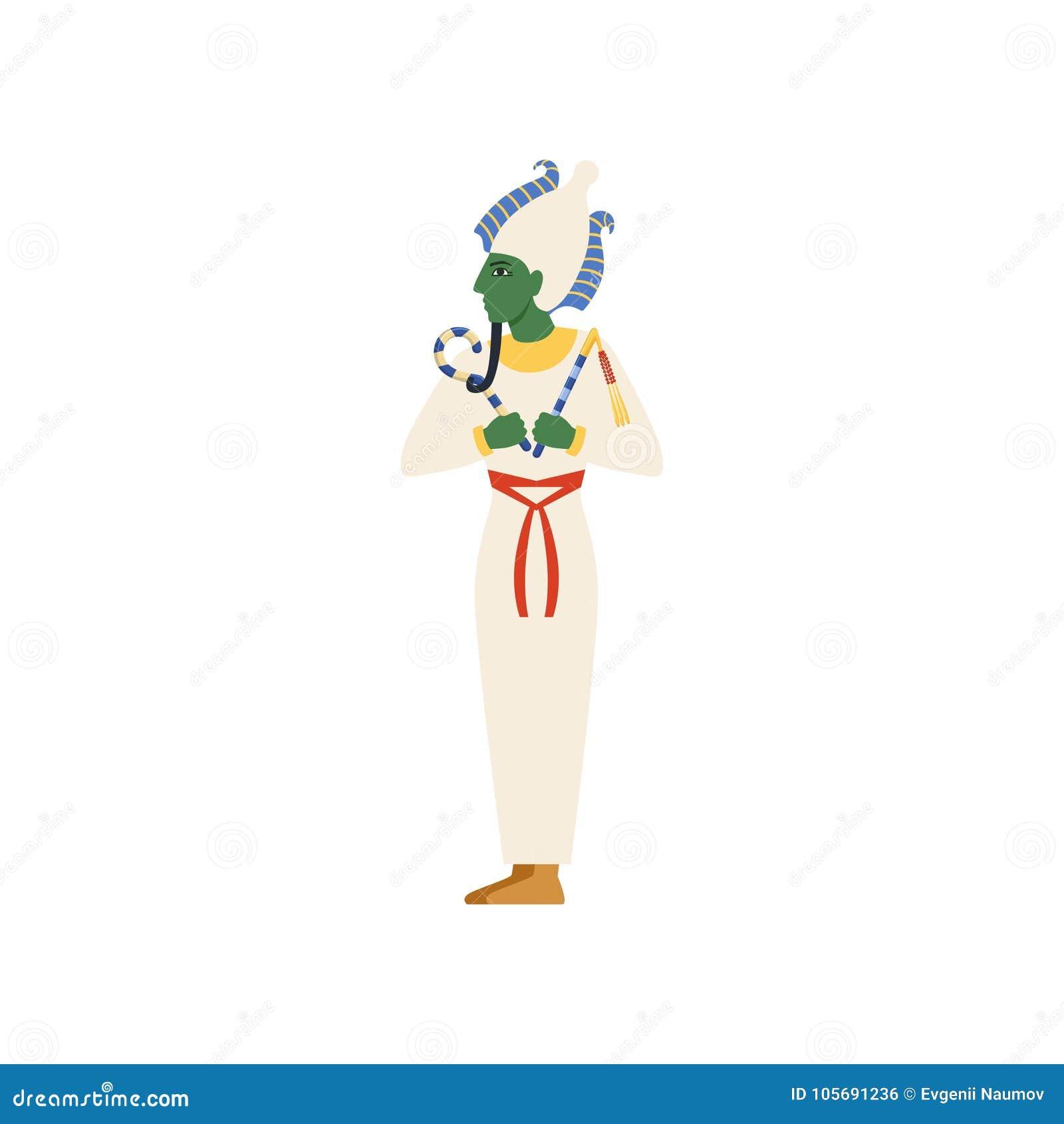 Osiris, dios del mundo terrenal, ejemplo antiguo egipcio del vector de la cultura