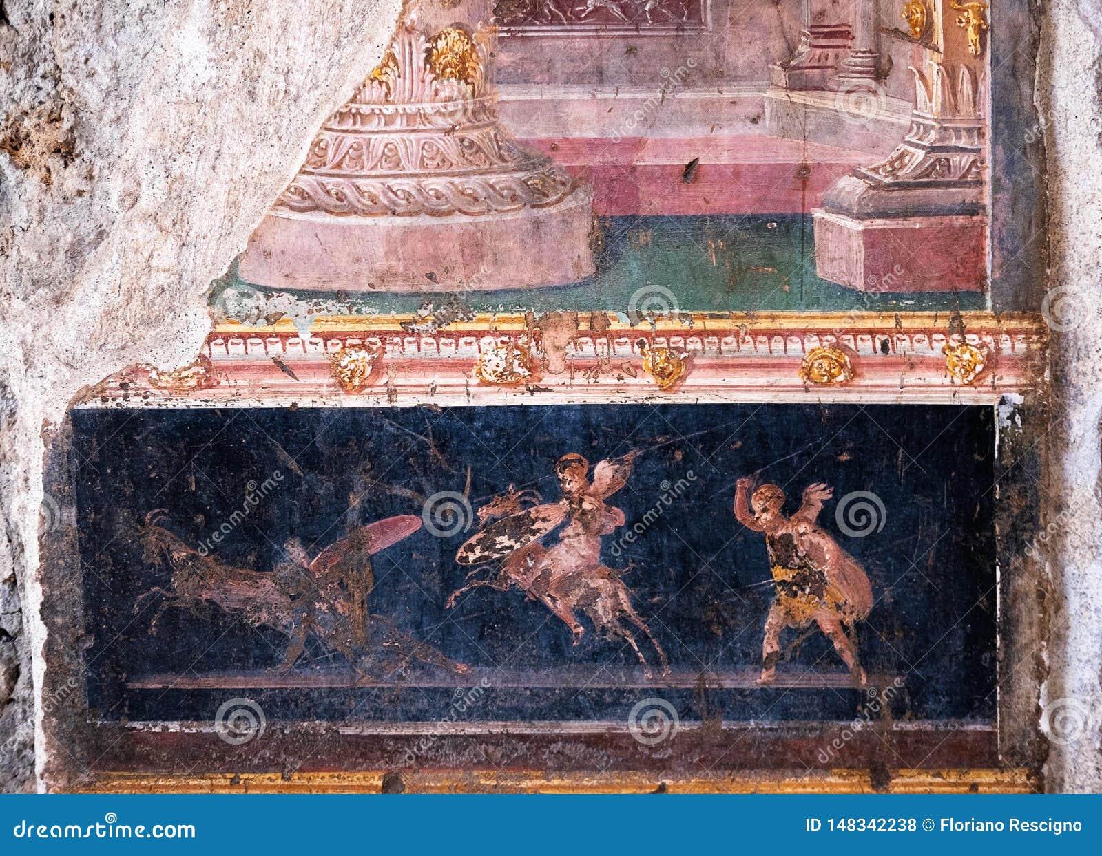 Oskrzydleni amorkowie walczą, mali bogowie antyczny Rzym w Pompeii