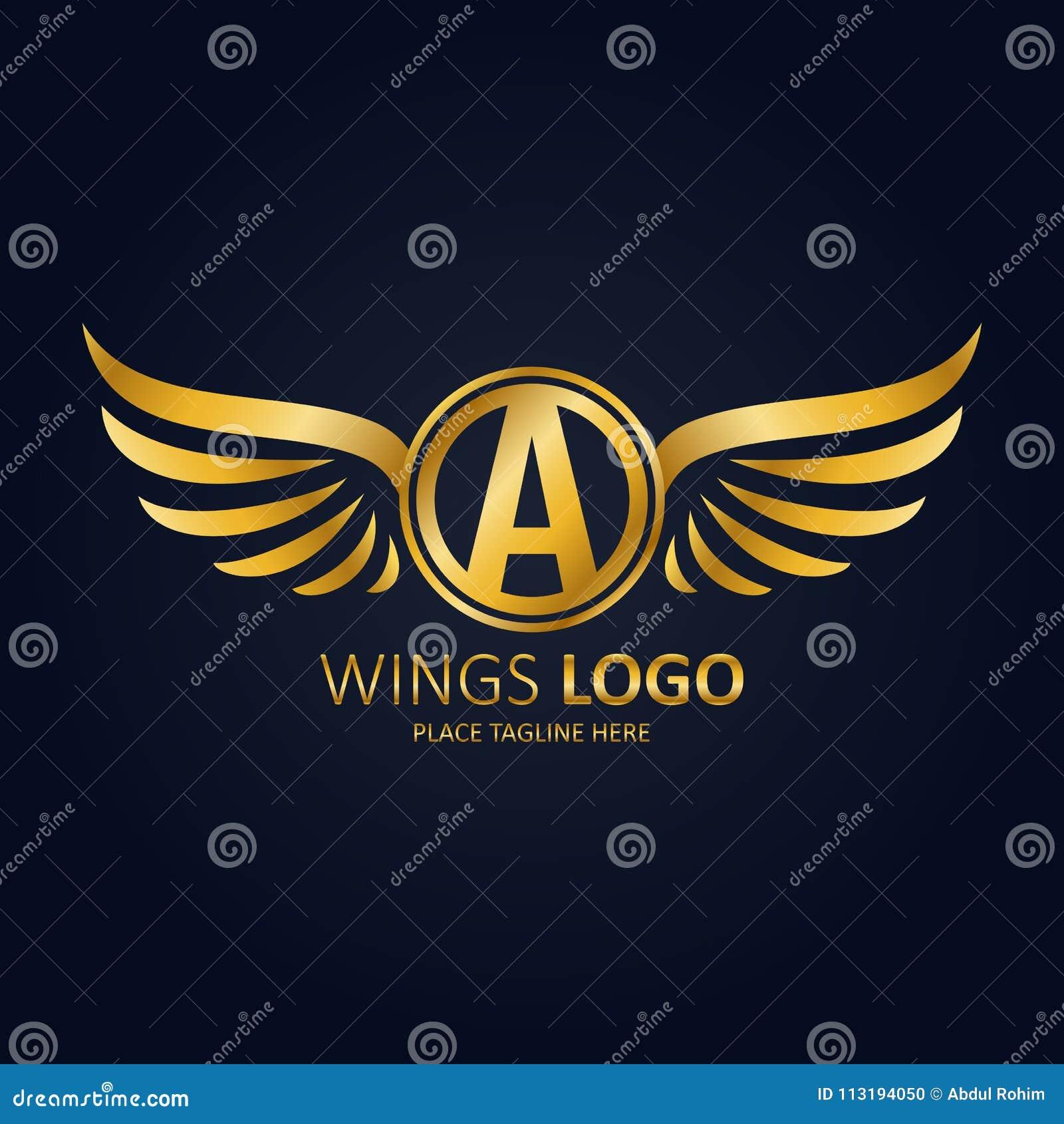 Oskrzydlony osłona biel z koroną Ikona teInitial list A z skrzydło ikony złotym projektem