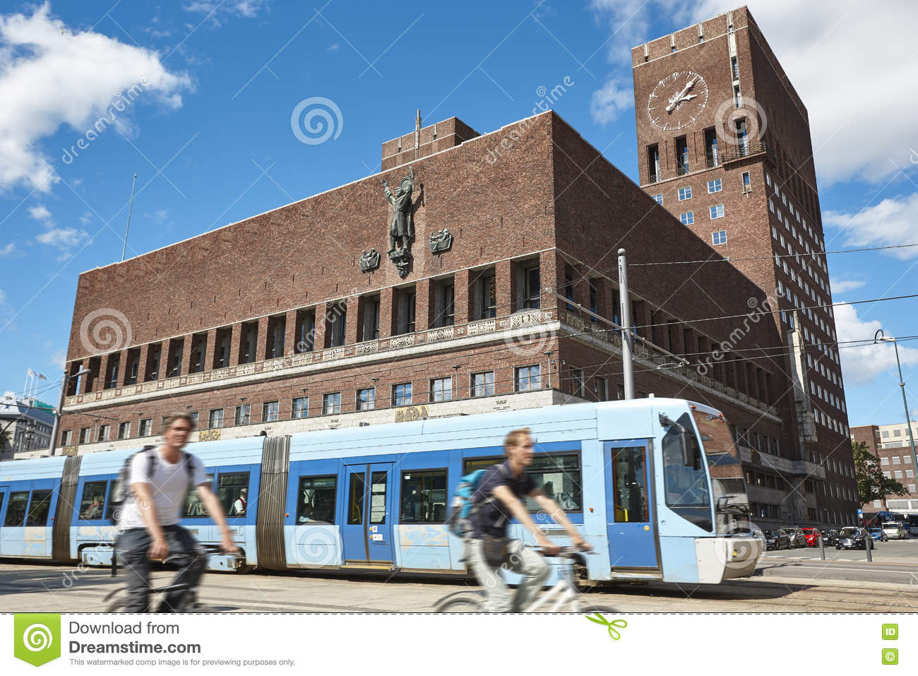 Oslo City Center With Town Hall, Tramway And Bikes. Norway