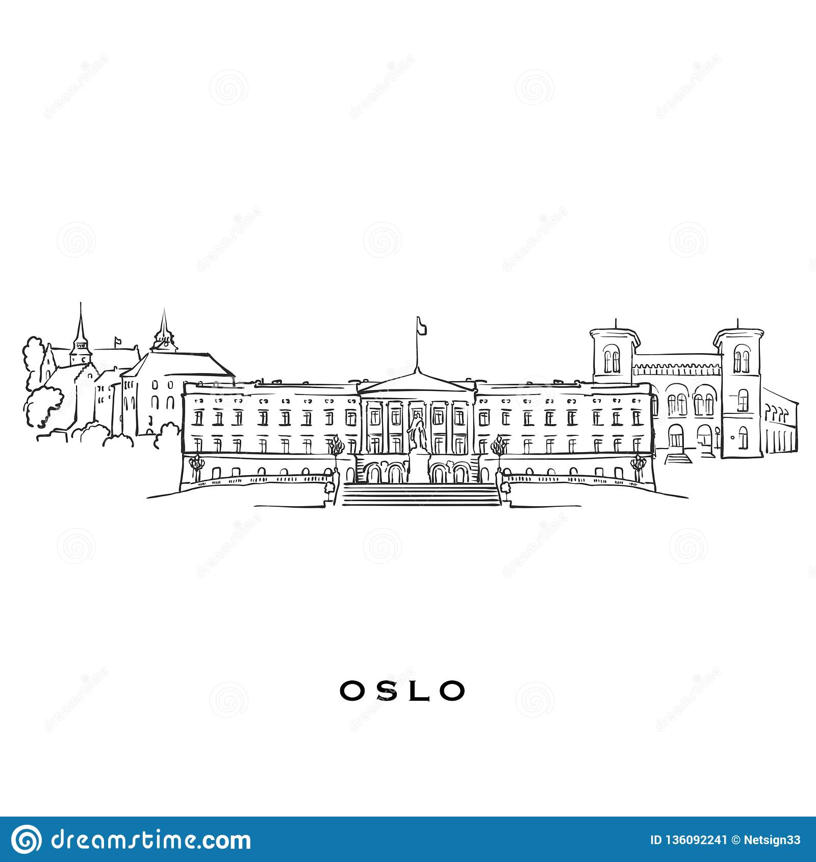 Oslo Norway Famous Architecture Stock Vector - Illustration of