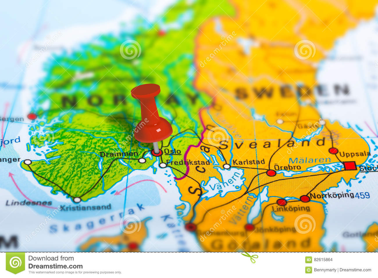 Oslo Norway map stock photo Image of concept geography 82615864