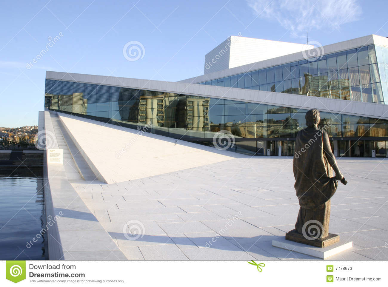 The opera house in oslo norway statue depicts opera singer kirsten