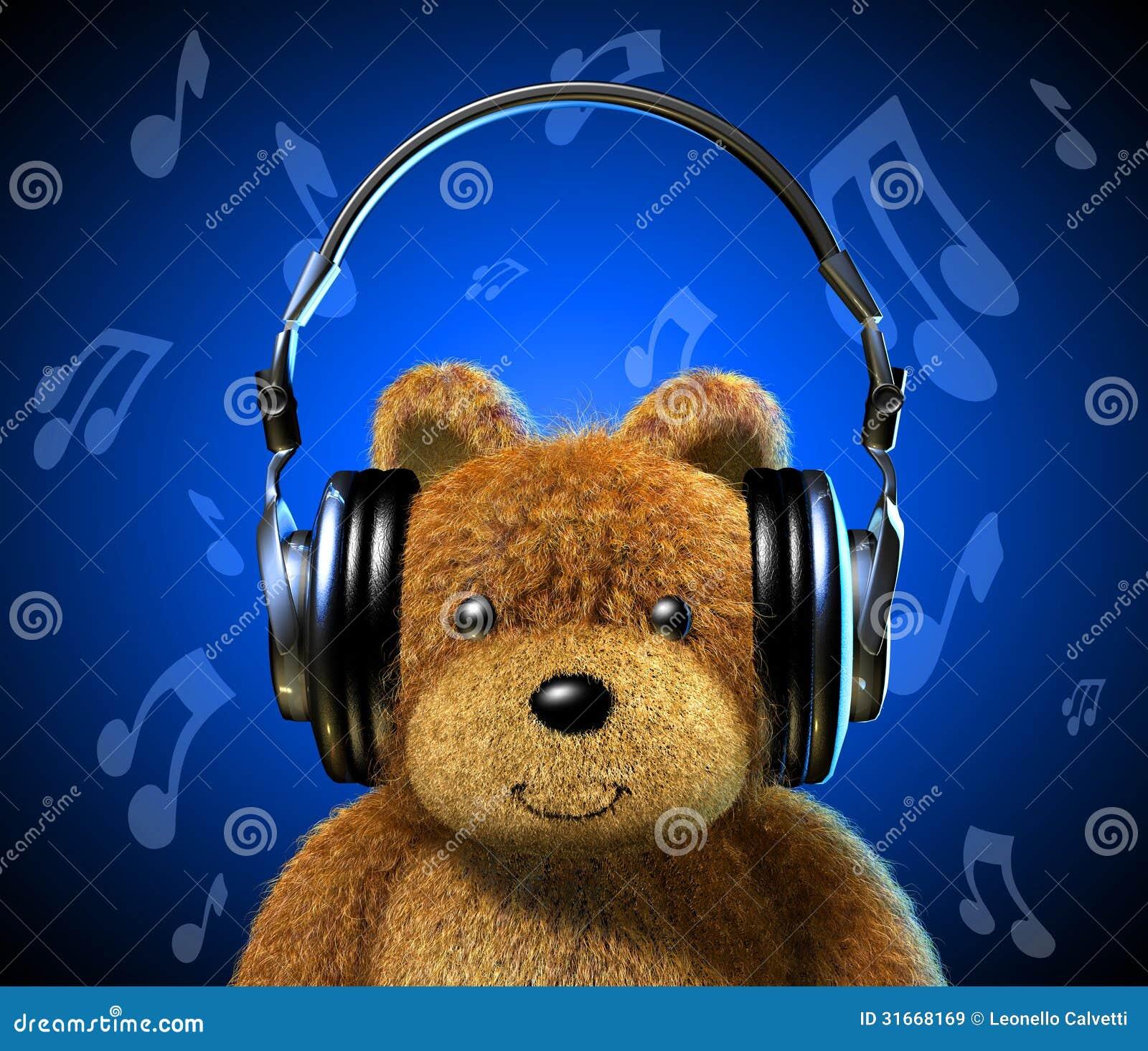 Oso De Peluche Con Los Auriculares De La Música Fondo Azul Con Las