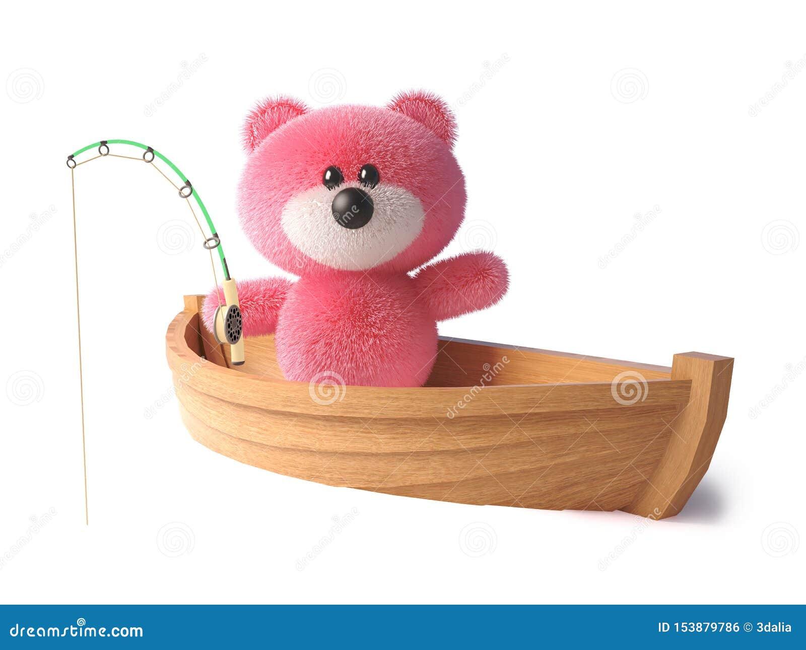 Oso de peluche rosado con la pesca suave mullida de su bote, de la piel ejemplo 3d