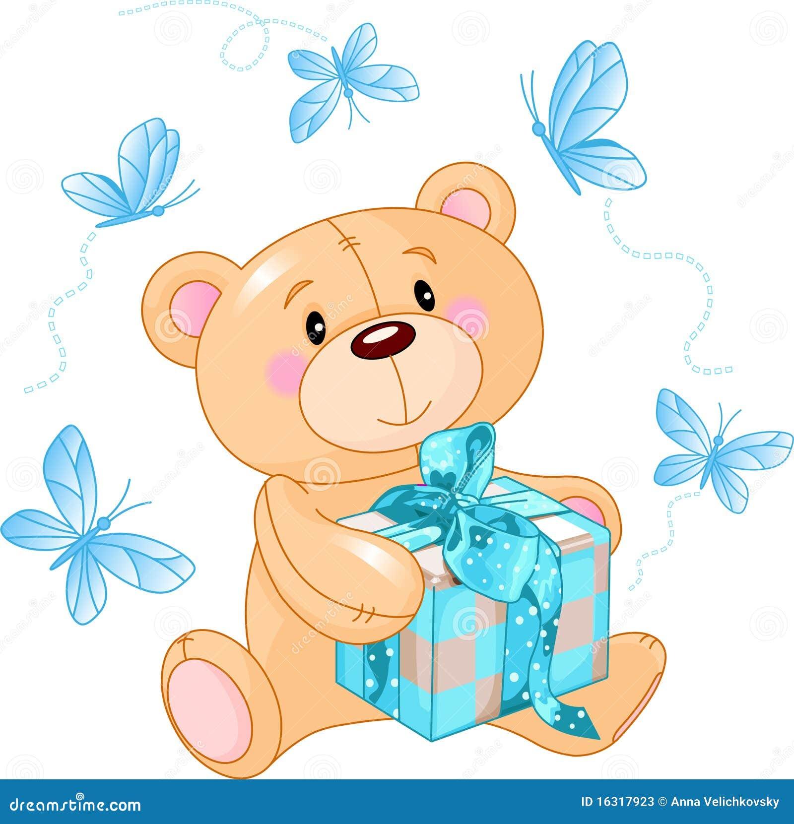 Oso del peluche con el regalo azul ilustraci n del vector ilustraci n de joven imagen 16317923 - El osito azul ...