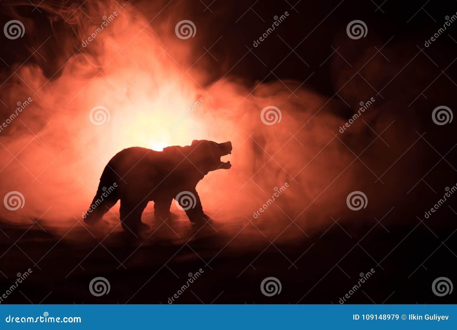 Oso enojado detrás del cielo nublado del fuego La silueta de un oso en fondo de niebla de la oscuridad del bosque Foco selectivo