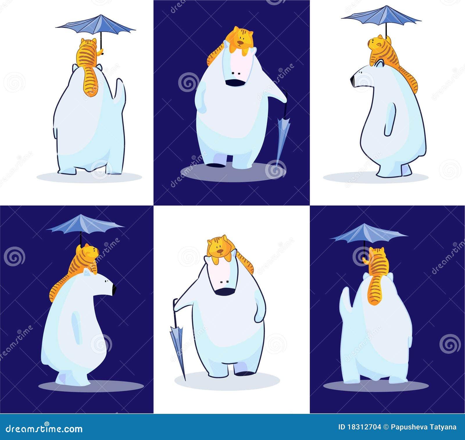 Oso polar, su gato y su paraguas