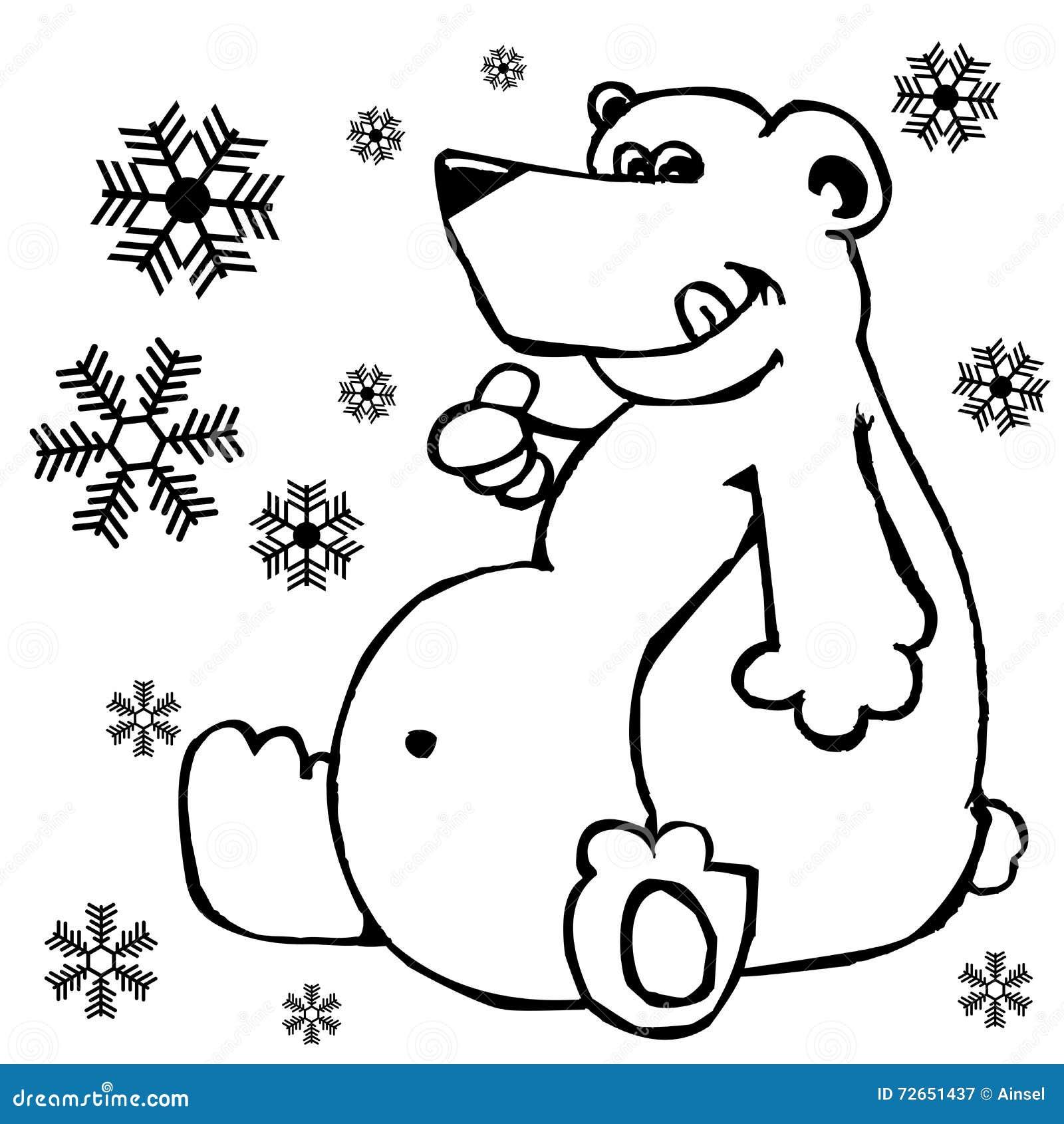 Oso polar y copos de nieve stock de ilustración. Ilustración de ...