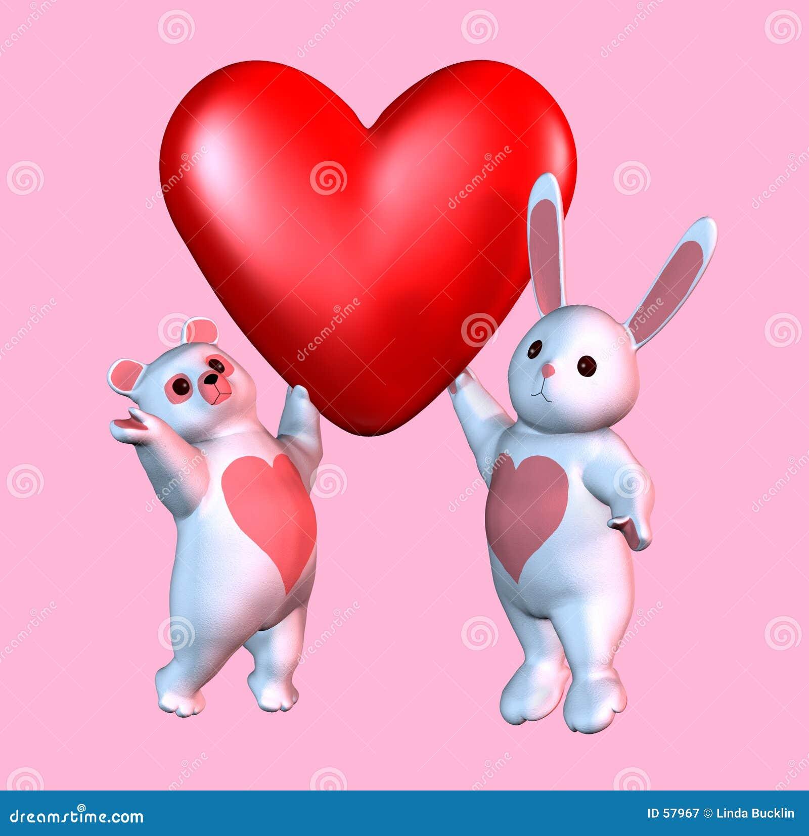 Oso y tarjeta del día de San Valentín del conejito con el camino de recortes